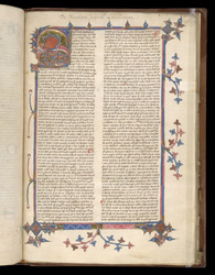 Illuminated Zoomorphic Initial And Border, In A Volume Of Robert Grosseteste's Works